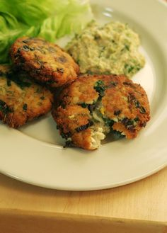 pike and spring greens pan fried cakes