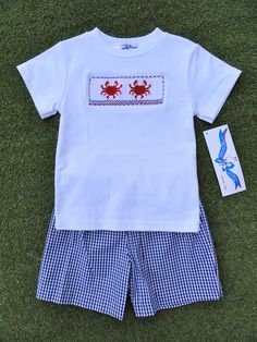 Smocked Crab Short Set from Smocked Auctions