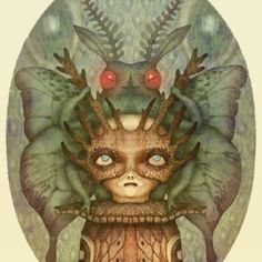 """The Moth Pharaoh - illustration from the animated """"Between Worlds"""" series -> www.behance.net/gallery/19740631/Between-Worlds #fairytale #magic #mythology #moth #creatures #animals #animation #GIF #watercolors #coloredpencils #art #Instaart"""