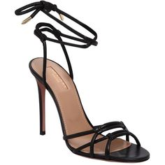 Aquazzura Women 105mm Laura Tubular Leather Sandals (€675) ❤ liked on Polyvore featuring shoes, sandals, leather lace up shoes, leather high heel sandals, wrap around sandals, leather sole shoes and lace-up sandals