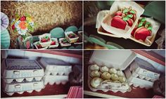Down on the Farm birthday party: mini cupcake favors served in egg cartons!