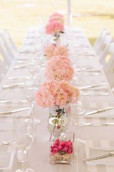 Pretty pink hydrangeas: http://www.stylemepretty.com/maryland-weddings/2015/06/08/romantic-backyard-southern-maryland-wedding/ | Photography: Birds of a Feather - http://www.birdsofafeatherphotos.com/