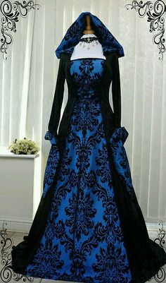 Blue and Black Gothic Whitby Medieval wedding dress hooded renaissance Wiccan