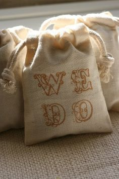 muslin gift bags WE DOx10, wedding favor bags, wedding shower gift bags for candies,soaps,candles. $12.00, via Etsy.