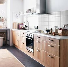Ikea kitchen, Walnut and White...clean and simple