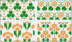 D.M.C. Point de Croix Nouveaux Dessins 3me Serie, Page 2. Art nouveau and Provençale charted cross-stitch designs. Overall floral patterns, orange and green