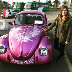 Pink designed vw beetle