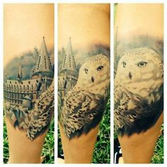 Amazing Hogwarts Hedwig Harry potter tattoo