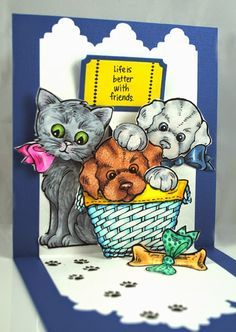 Created by Pam Hornschu with Stampendous Pop Up Dies, Puppies and Kitties stamps and matching dies. #cre8time #Stampendous