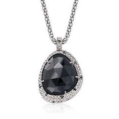 """Ross-Simons - Phillip Gavriel """"Popcorn"""" Black Onyx and Black Spinel Pendant Necklace in Sterling Silver. 18"""" - #877496"""