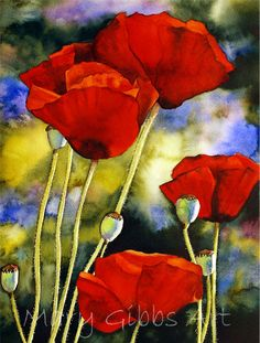 Red Poppies by Mary Gibbs Watercolor Poppies, Red Poppies, Watercolor Paintings, Watercolors, Art Floral, Mary Gibbs, Flower Art, Art Drawings, Art Projects