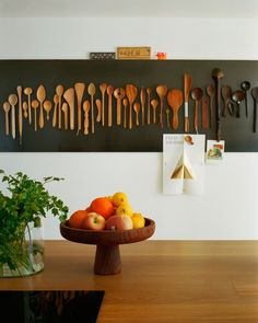 modern country An interesting display of wooden utensils against a black background – I wonder whether they are mounted to be useable? More from my siteMinimalist Wall Art Prints Cheap Home Decor, Diy Home Decor, Room Decor, Art Decor, Cheap Wall Decor, Decor Crafts, Kitchen Wall Art, Kitchen Decor, Wooden Kitchen