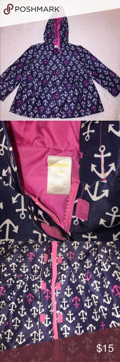 Gymboree Toddler Girls Rain Jacket GYMBOREE Toddler Girls hooded rain jacket. Fully lined. Zip and Velcro closure. Navy blue with white and pink anchors. Size 2T-3T. Excellent condition. No signs of wear! Gymboree Jackets & Coats Raincoats