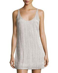 Sleeveless Embellished Shift Dress, Gray