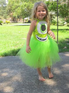 Check out this super cute monster inspired Halloween tutu dress costume that is one eyed and green. The costume is a full sewn one piece