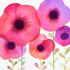 Margaret Berg Art: Pink Poppy Garden