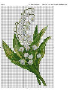 Pretty Lily of the Valley. Just Cross Stitch, Cross Stitch Cards, Cross Stitch Flowers, Cross Stitching, Cross Stitch Embroidery, Embroidery Patterns, Cross Stitch Designs, Cross Stitch Patterns, Bobble Stitch