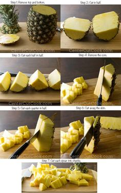 Step by step guide on how to cut a pineapple! Interesting! I always try and cut the outside first!.