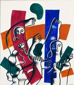 France Reborn, from the United Nations Series  1945 Fernand Léger, French, born Argentan, France 1881-died Gif-sur-Yvette, France 1955 watercolor, gouache, and pencil on paper mounted on paperboard sheet: 26 1/8 x 21 7/8 in. (66.2 x 55.5 cm) Smithsonian American Art Museum, Gift of Container Corporation of America