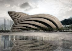 This creative building was represented by Portuguese firm OODA to the design competition for the Busan Opera House in Busan, South Korea. Architectors placed this seashell like building Theatre Architecture, Architecture Magazines, Concept Architecture, Futuristic Architecture, Amazing Architecture, Architecture Design, Organic Architecture, Asian Architecture, Unusual Buildings
