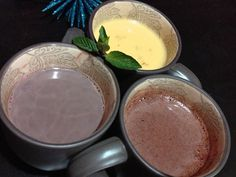 Hot chocolate three ways: peppermint, mexican lavender white