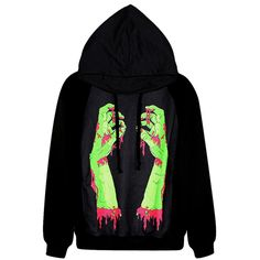 Black Trendy Womens Zombie Hand Printed Pullover Hoodie ($31) ❤ liked on Polyvore