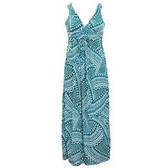 Luxury Divas Teal  White Aztec Geometric Print Long Maxi Sun Dress Size Small >>> Click image for more details.