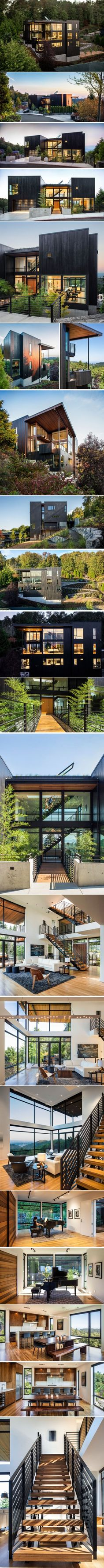 This new house was designed for life on a steep hillside property in Portland Hillside Villas, Hillside House, Future Buildings, Royal Park, Jimbaran, Project 4, Shipping Container Homes, Home Projects, Modern Architecture