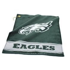 "NFL Philadelphia Eagles Woven Golf Towel by Team Golf. $16.99. 100% cotton. Includes corner hook for easy attachment to the golf bag. Top and bottom hem includes school name. 16"" x 19"" woven golf towel. NFL Philadelphia Eagles Woven Golf Towel"