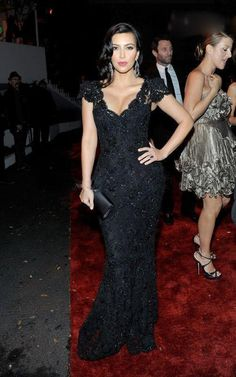 Fashion V Neck Sheath Column Floor Length Kim Kardashian Sexiest Black Lace Celebrity Dresses Evening Dress