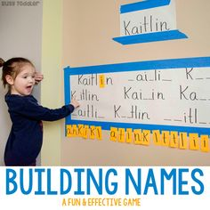 Building Names - Preschool Literacy Activity - Busy Toddler activities preschool reggio Name Activities Preschool, Preschool Learning Activities, Preschool Curriculum, Preschool Lessons, Preschool Classroom, In Kindergarten, Preschool Activities, Kids Learning, Toddler Preschool