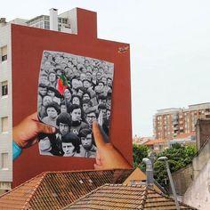 """389 curtidas, 1 comentários - @tschelovek_graffiti no Instagram: """"""""1 de Maio 1974"""" by @smileoneartin Barreiro, Portugal. #smileoneart #smileone #smile1 #Barreiro…"""""""