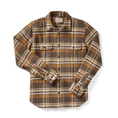 Vintage Flannel Work Shirt - Tan/Gold/Cream Plaid - Medium