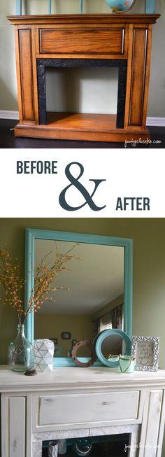 A faux mantel redo before and after. Chalk paint, a shelf and backing.