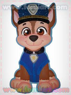 Moldes Gratis 2018: Paw Patrol Chase tamaño carta Homemade Christmas Cards, Paw Patrol Birthday, Minnie Mouse, Disney Princess, Disney Characters, Party, Albania, Ideas, Crafts