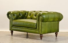 Bright Green Chesterfield Chair & 1/2  chairs - perfect for the office/den/library room!