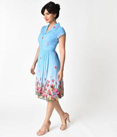 Hell Bunny Blue Tulip Print Bethany Chiffon Swing Dress – Unique Vintage