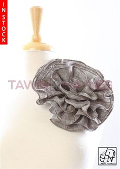 Tawni Haynes Circle Flower Pin (8 inch) - Tan Linen Fabric Flower Brooch, Fabric Flowers, Black Stripes, Grey, How To Make, Color, Gray, Burlap Flowers, Colour
