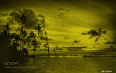 Sunrise - Pinned by Mak Khalaf Green light Abstract artworkbeachcloudslightmorningsunrisetrees by Robert-Chenevert