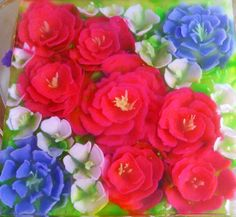 American flag colors in roses art Jelly