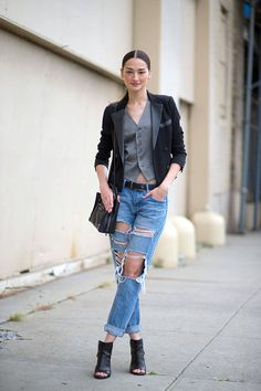 New York Spring 2015 Street Style - Street Style / vest / blazer / fashion / street style / outfit inspiration / riped denim / jeans