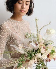 Monochromatic and neutral bridal bouquet. Wedding Ceremony Flowers, Winter Wedding Flowers, Rustic Wedding Flowers, Purple Wedding, Floral Wedding, Wedding Bouquets, Floral Event Design, Wedding Officiant, Bridesmaid Bouquet