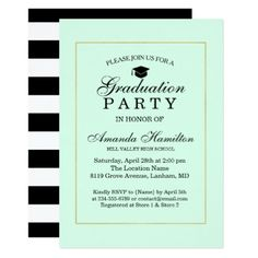 Black Modern Classic Faux Gold Frame Graduation Card Graduation - Graduation party invitations ideas