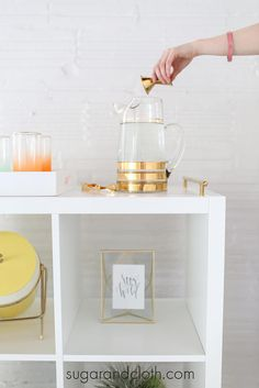 Pura Vida Decor | DIY gold stripes pitcher