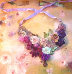 Necklace  Hand Beaded Beautiful Artisic Textiles from Silk Lace  Beads Purple Violet  GREEN Pink Roses. $129.00, via Etsy.