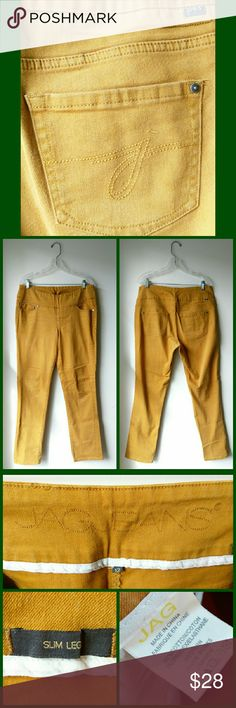 """JAG Slim Leg Jeans JAG pull-on jeans are probably the greatest invention of our times! No buttons and zippers to bind, poke, twist, or ruin the look of your outfit. If these still fit me I definitely would not be parting with them! A rich mustard colored denim, nice and thick, minimal stretch -- these are not jeggings! In very good used condition. No noticeable signs of wear. Measurements: 35"""" waist, 14"""" opening at the ankle, 31"""" inseam. Perfect compliment to your fall wardrobe! Jag Jeans…"""