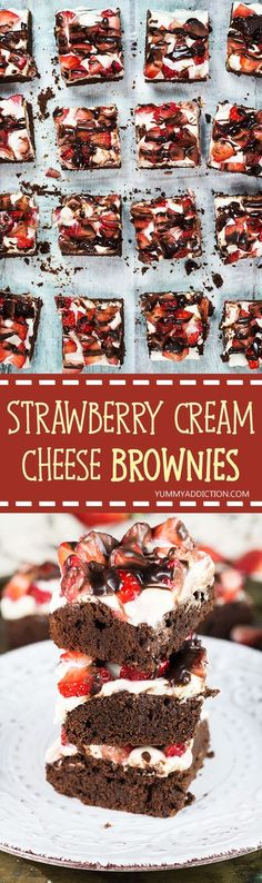 These Strawberry Brownies feature a chocolate brownie base covered with a cream cheese layer and topped with strawberries and melted chocolate. Perfect for Valentine's Day! | yummyaddiction.com