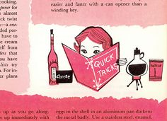 Good Housekeeping's Quick 'N' Easy Cook Book, illustrated by Lou Peters. 1958.  I love this page.