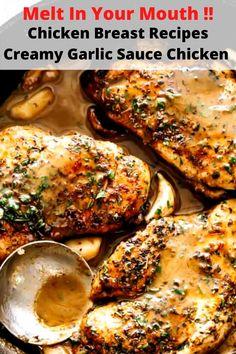 Chicken  Breast Recipes : Creamy Garlic Sauce Chicken Garlic Sauce For Chicken, Creamy Garlic Sauce, Best Healthy Dinner Recipes, Low Sodium Chicken Broth, Breast Recipe, Stuffed Peppers, Cooking, Kitchen, Kochen