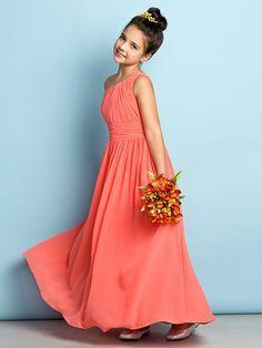 Ankle-length Chiffon Junior Bridesmaid Dress - Watermelon A-line One Shoulder - USD $ 59.99